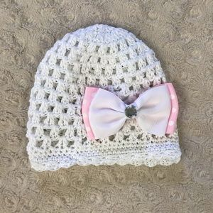 Baby Girl Knit Hat Pink White Bow